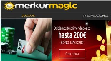 Merkurmagic otorga 200 euros por primer depósito