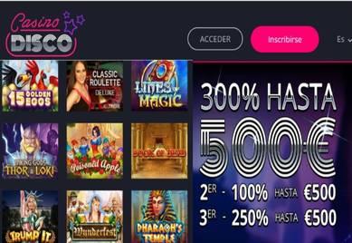 Fantástico Bono de bienvenida Casino Disco hasta de 300% con 500 euros máximo